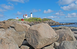 Lighthouse in New England. Coastal view of picturesque New England Lighthouse Royalty Free Stock Image