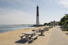 Lighthouse in New Jersey on island royalty free stock photos