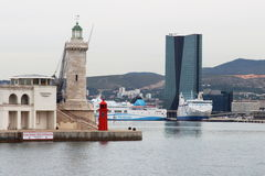 Lighthouse and new port of, Marseille, France Stock Photos