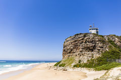 Lighthouse - Newcastle Australia. Nobbys Lighthouse - Famous landmark in Newcastle Australia. This landmark is often used for promotional material for Newcastle Stock Photos
