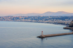 Lighthouse in Nice at sunrise Royalty Free Stock Photography