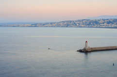 Lighthouse in Nice at sunrise Stock Images