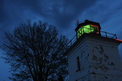 Lighthouse at Night. An image of a lighthouse in Goderich, Ontario, operating at night Stock Photos
