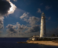Lighthouse at night royalty free stock images