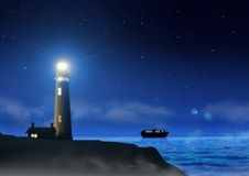 Lighthouse at Night Royalty Free Stock Photos