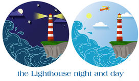 Lighthouse night and day. Flat vector lighthouse night and day round emblems Stock Photography