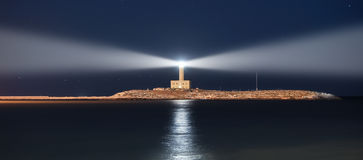 Lighthouse at night. Double light. Vieste, Puglia, Italy Stock Photos