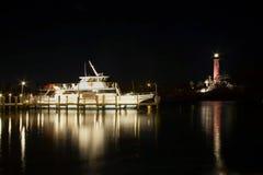 Lighthouse at night at night royalty free stock photos