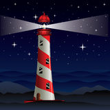 Lighthouse and Night Sea Royalty Free Stock Image