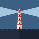 Lighthouse, night and sea Royalty Free Stock Photos