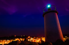 Lighthouse In The Night Stock Images