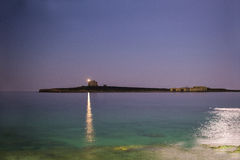 Lighthouse in the night. View from Marzamemi, sicily Royalty Free Stock Photography