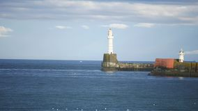 Lighthouse in the North Sea Aberdeen, Scotland, UK stock footage