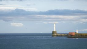 Lighthouse in the North Sea Aberdeen, Scotland, UK stock video