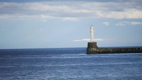 Lighthouse in the North Sea Aberdeen, Scotland, UK stock video footage