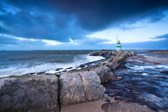 Lighthouse on North sea coast, Ijmuiden Royalty Free Stock Photos