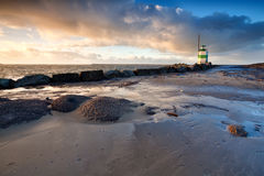 Lighthouse on North sea in Ijmuiden Stock Image