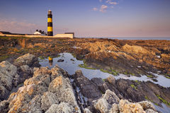 Lighthouse in Northern Ireland at sunset Stock Image