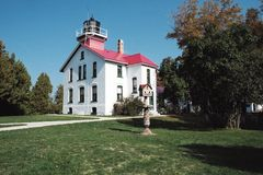Lighthouse in Northern Michigan. Lighthouse and maritime museum on Leelanau Peninsula, Michigan Stock Photo