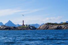 The lighthouse on the norwagian island Skrova. The lighthouse on the norwagian island Stock Images