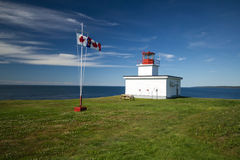 Lighthouse,NovaScotia. A white lighthouse sits on a grassy point over looking the Bay of Fundy on Brier Island,Nova Scotia.The Canadian flag is flying during a Royalty Free Stock Photography