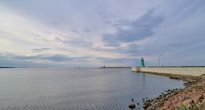 Lighthouse in Nowy Port in Gdansk, Poland. Quay - entry to the p Royalty Free Stock Photos