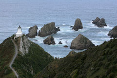 Lighthouse at nugget point. Nugget Point, Catlins, southland, south island, new zealand stock photos