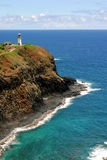Lighthouse and Ocean. Lighthouse overlooking the ocean on a cliff in Hawaii Stock Image