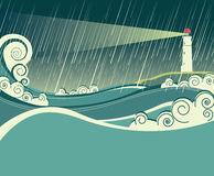 Lighthouse and ocean in storm night. Illustration of lighthouse seascape in raining night Royalty Free Stock Photography
