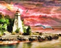 Lighthouse, Ocean, Sunset, Seagulls Stock Photos