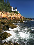 Lighthouse and ocean view. Acadia national park in maine Royalty Free Stock Photo