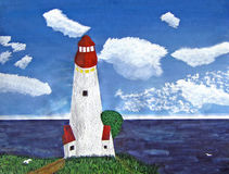 Lighthouse with ocean view during the day painting. A color painting of a lighthouse seen from inland, looking out into the ocean. Blue sky with white clouds are Royalty Free Illustration