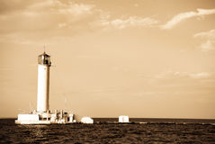 Lighthouse in Odessa Ukraine, photo in vintage sty Royalty Free Stock Images