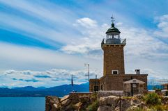 Lighthouse Of Melagavi Or Ireon In Loutraki Greece Royalty Free Stock Images