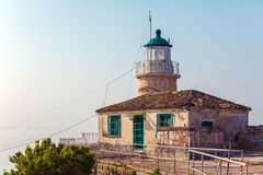 Lighthouse at Old Fortress in Kerkyra, Corfu island Royalty Free Stock Image