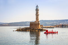 Lighthouse in old harbour of Chania on Crete Stock Photo