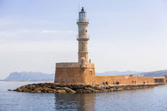 Lighthouse in old harbour of Chania on Crete Royalty Free Stock Photos