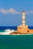 Lighthouse in old harbour, Chania, Crete, Greece Royalty Free Stock Photography