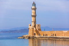 Lighthouse in old harbour of Chania on Crete Stock Image