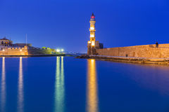 Lighthouse in old harbour of Chania on Crete Royalty Free Stock Image