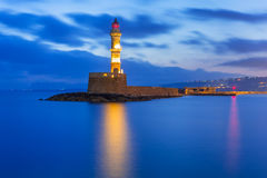 Lighthouse in old harbour of Chania on Crete Stock Photography