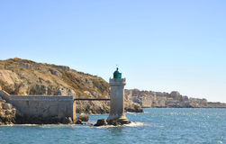 Lighthouse in the old port of Marseille, France Stock Photos