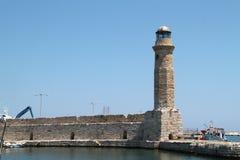 Lighthouse at Port of Rethymnon, Crete, Greece. Lighthouse at the old port of Rethymnon, Crete island, Greece Stock Photo