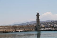Lighthouse at Port of Rethymnon, Crete, Greece Stock Images