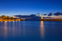Lighthouse of the old Venetian port in Chania, Crete Royalty Free Stock Images