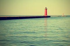 Lighthouse On Lake Michigan Stock Photo