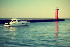 Lighthouse On Lake Michigan Stock Images