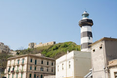 Lighthouse of  Ortona. Overlooked by Castello Aragonese Stock Photo