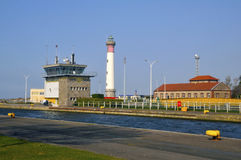 Lighthouse of Ouistreham in France Stock Image