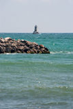 Lighthouse on the outer roads of Pomorie Bay in Bulgaria Royalty Free Stock Photography